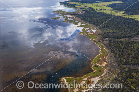 Aerial of Coastal Mud Flats, located in Freycinet National Park, Tasmania, Australia. Photo - Gary Bell