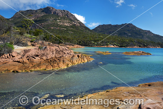 Honeymoon Bay and The Hazards mountain range. Freycinet Natiional Park, Tasmania, Australia. Photo - Gary Bell