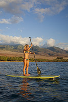 Instructor on Paddle-board Hawaii Photo - David Fleetham