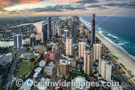 View of Surfers Paradise, taken from the SkyPoint Observation Deck, Q1 building, Queensland, Australia. Photo - Gary Bell