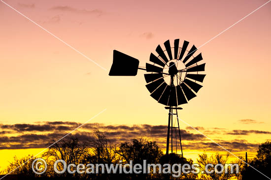 Farmland Windmill photographed during sunrise in outback Silverton, near Broken Hill, New South Wales, Australia. Photo - Gary Bell