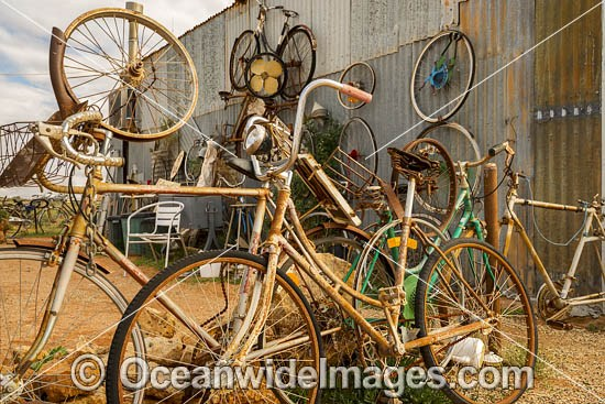 Old bicycles used as a fence in the outback town of Silverton, near Broken Hill, New South Wales, Australia. Photo - Gary Bell