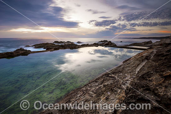 Coastal Seascape, showing sunrise at Blue Pools. Bermagui, New South Wales, Australia. Photo - Gary Bell