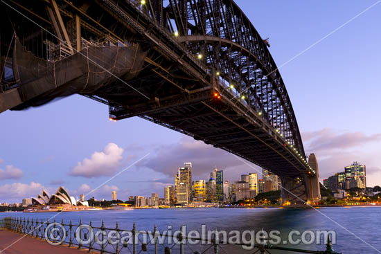 Sydney Harbour Bridge, Opera House and City. Sydney, New South Wales, Australia. Photo - Gary Bell