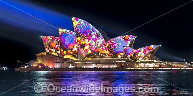 Sydney Opera House decorated in video light during Vivid Sydney's 2017 festival of light, music and ideas. Sydney, New South Wales, Australia. Photo - Gary Bell