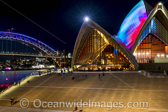 Sydney Opera House and Harbour Bridge decorated in video light during Vivid Sydney's 2017 festival of light, music and ideas. Sydney, New South Wales, Australia. Photo - Gary Bell
