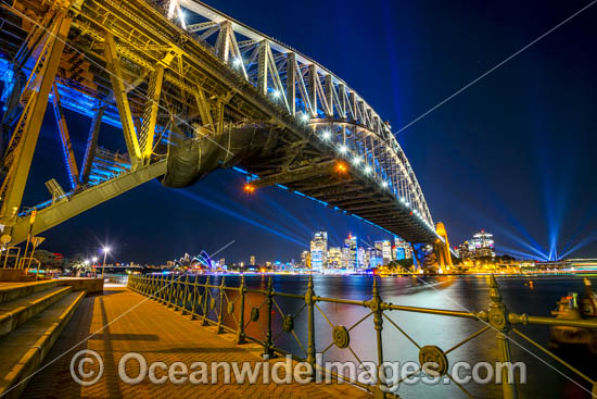 Sydney Harbour Bridge, Opera House and City decorated in video light during Vivid Sydney's 2017 festival of light, music and ideas. Sydney, New South Wales, Australia. Photo - Gary Bell
