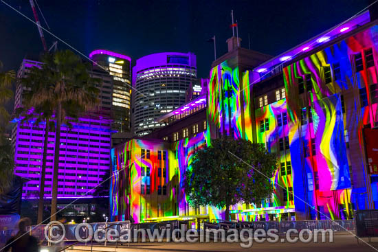 Museum of Contemporary Art building decorated in video light during Vivid Sydney's 2017 festival of light, music and ideas. Sydney, New South Wales, Australia. Photo - Gary Bell