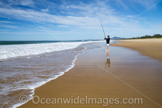 Fishing on Mylestom surf beach. Mylestom, New South Wales, Australia. Photo - Gary Bell