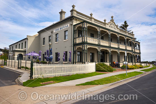 Royal Hotel, established in 1857. Originally named The Schnapper Point Hotel, but changed name in 1876 after it was visited by the second son of Queen Victoria, Prince Alfred the Duke of Edinburgh. Mornington, Mornington Peninsula, Victoria, Australia. Photo - Gary Bell