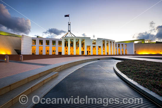 Parliament House at night, Capital Hill, Canberra. Parliament House is the meeting facility of the Parliament of Australia, situated in the Australian Capital Territory, Australia. Photo - Gary Bell