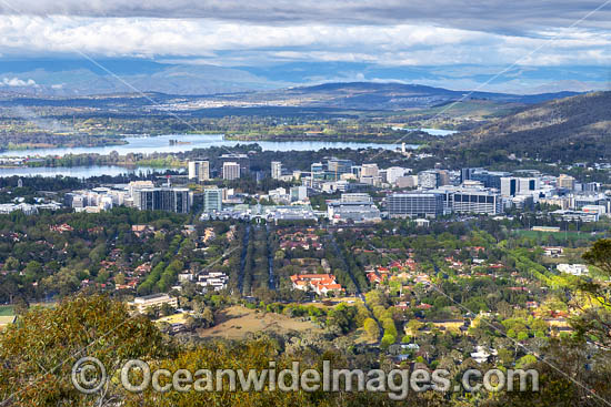 Overview of Canberra City, from Mount Ainslie Lookout. Situated in the Australian Capital Territory, Australia. Photo - Gary Bell