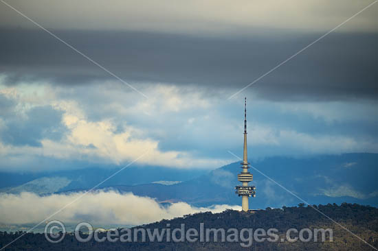 Telstra Tower. Telecommunications tower and lookout situated above the summit of Black Mountain in Australia's capital city of Canberra. Photo - Gary Bell