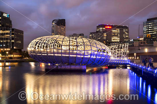 Web Bridge during sunset, a foot bridge that crosses the Yarra River at Docklands. Melbourne City, Victoria, Australia. Photo - Gary Bell