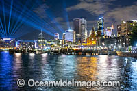 Sydney City decorated in light during Vivid Sydney's 2018 festival of light, music and ideas. Sydney, New South Wales, Australia. Photo: Gary Bell
