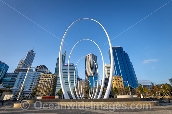 Elizabeth Quay Spanda Sculpture and Perth City, Western Australia. Photo - Gary Bell