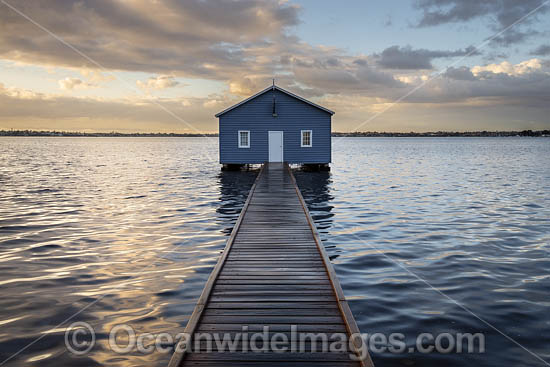 Sunrise at Crawley Edge Boatshed, also known as the Blue Boat House, on the Swan River. Perth, Western Australia. Photo - Gary Bell
