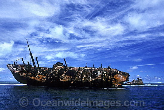 Freighter shipwreck, 'Runic', high and dry on Middleton Reef after running aground during 1961 cyclone. Middleton Reef, New South Wales, Australia. Photo - Gary Bell