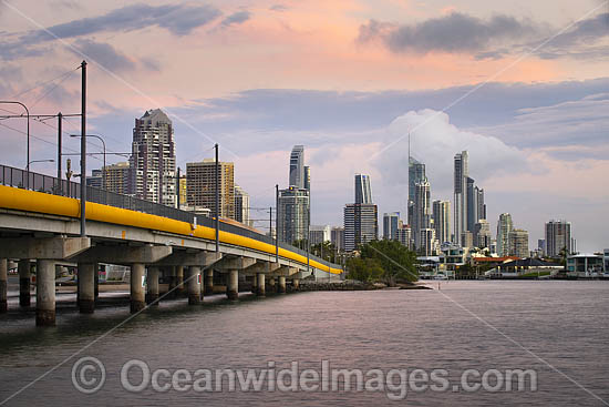 View of Sundale Bridge and the city of Surfers Paridise during dusk. Surfers Paradise, Queensland, Australia. Photo - Gary Bell