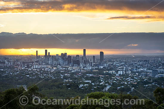 Brisbane City at sunrise, taken from Mt Coot-tha Lookout. Brisbane, Queensland, Australia. Photo - Gary Bell