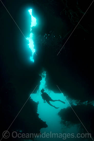 Diver exploring an underwater sea cavern. Kimbe Bay, Papua New Guinea. Photo - Gary Bell
