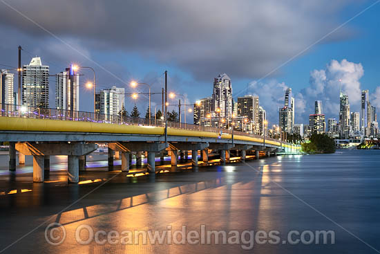 Dusk view of Sundale Bridge and the city of Surfers Paradise. Surfers Paradise, Queensland, Australia. Photo - Gary Bell