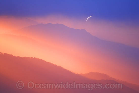 Setting moon at sunrise. Point Lookout, New England National Park, New South Wales, Australia Photo - Gary Bell