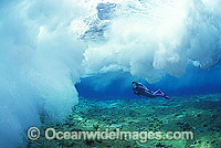 Scuba Diver breaking wave Coral reef Photo - Gary Bell