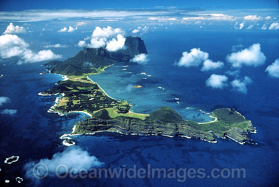 Aerial view of Lord Howe Island showing Coral lagoon. Worlds most southern Coral reef. South Pacific Ocean, Australia Photo - Gary Bell
