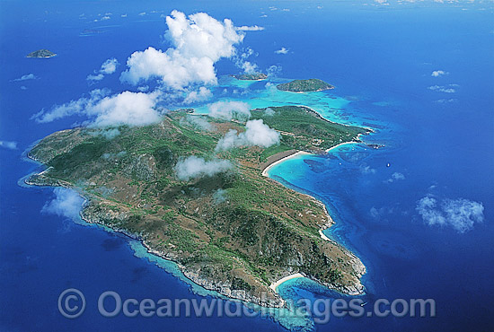 Aerial view of Lizard Island and fringing reef. Far Northern Great Barrier Reef, Queensland, Australia
