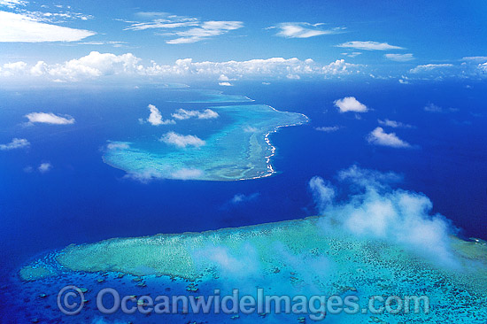 Aerial view of Ribbon Reefs, showing Cod Hole and Cormorant Pass. Far Northern Great Barrier Reef, Queensland, Australia Photo - Gary Bell