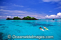 Snorkelers on Coral reef Fiji Photo - Gary Bell