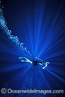Diver snorkeling in sunrays photo