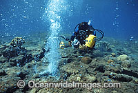 Scuba Diver and Underwater Volcanoe Vent photo