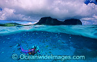 Photograph beneath the ocean and above the ocean at Lord Howe Island